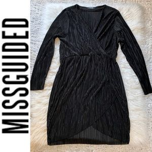 Misguided Black Faux Wrap Dress Long Sleeves 22